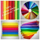 100 Cotton fabric Solid Colors 45 Width Quilting Sewing Tablecloths Sold BTY
