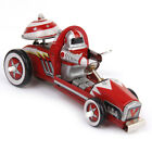 Retro Wind up Racing Race Car Racer Driver Clockwork Mechanical Tin Toy Red