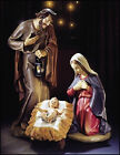 Val Gardena 3 Piece 24 Holy Family Nativity Set Resin Hand Carved Wood Replica