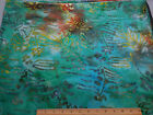 Batik Fabric BTY Floral on Green /w Orange Touch of Yellow Cotton # 7