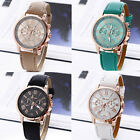 Geneva Women Girl Roman Numerals Leather Band Quartz Wrist Watch Bracelet