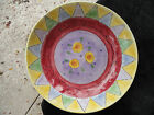 Sango Sweet Shoppe Triangles Rim Purple Center Yellow Flowers Pasta Serving Bowl