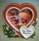 VINTAGE FITZ & FLOYD PICTURE FRAME OUR FIRST CHRISTMAS HOLLY HEART NEW