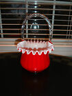 1960s Fenton Art Glass Plated Amberina Ruby Red Basket Book Piece Large EXC MINT