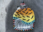 Fitz & Floyd Kitty Witches Gray Cat Orange Cape Bats Canape/Serving Plate