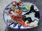 Fitz & Floyd Witch Hazel Black Cat Pumpkin Castle Bats Broom Embossed Platter