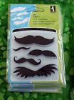 NEW Inkadinkado Mini Acrylic Rubber Stamps MUSTACHES MOUSTCHES 5 Different