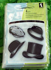 Inkadinkado Mini Acrylic Rubber Stamps MENS HATS CAPS TOP HAT FEDORA 4 Pieces