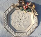 Fitz And Floyd Classics SNOWY WOODS Canape Plate or Wall Decor Bow