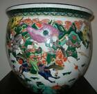 Antique Large 18in Chinese Porcelain Planter Fish Bowl Famille Verte Warriors