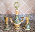 LOT SET CERAMIC CANDLE HOLDER CRUET ITALY GIALLETTI V.G. DEC A MANO DERUTA