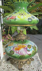 Beautiful Vintage Green Floral Gone With The Wind Hurricane Parlor Banquet Lamp