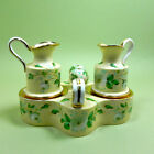 Porcelain Bisque Antique Cruet Set Holder Hand Painted Yellow Green Gold Gilt