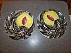 Pair of Vintage Italian Art Pottery Jack In The Pulpit Flower Plate Great Look
