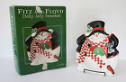 Fitz and Floyd FF Christmas Holly Jolly Snowman Canape Plate in Box - #2063-60