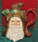 Fitz & Floyd Classics Holiday Pine Santa Head teapot with lid in box