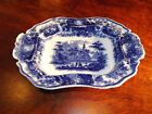 Leigh Middleport Flow Blue Pottery NONPAREIL Footed Vegetable Dish