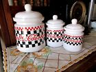 1997 Set of 3 Coca-Cola Checkerboard Stoneware Canister Set By Gibson Housewares