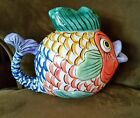 1995 PESCADA TEAPOT - TABLETOPS UNLIMITED- EXCELLENT -  HAND PAINTED CERAMIC