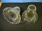 2 Antique Ribbed Clear Fancy Art Glass Lamp Light Fixture Shades 2 1/4