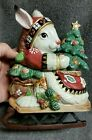 Fitz & Floyd Classics Christmas Lodge Rabbit on Sled w/Tree Covered Candy Dish