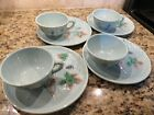 Zell German Majolica Snack Plate and Saucer Set Birds and Grapes