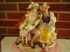 Antique Victorian GERMANY Porcelain FIGURINE French Couple With Lamb Wolf