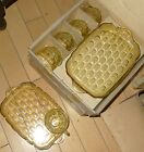 Vintage MIB Glass Yorktown Federal Yellow Honeycomb Snack 4 Plates 4 Cups