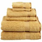 NEW Superior Egyptian Cotton 6 Piece Towel Set Gold FREE SHIPPING