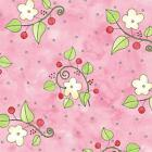 Cat Fabric - HAPPY CATZ - FLORAL - PINK - By The Yard