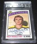 1976-77 Topps Rick Middleton Signed Card BGS 8.5 BGS 10 Auto Nifty Inscr Bruins
