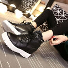 New Korean Womens High top Heels Platform Casual Leather Sneakers Shoes WW40