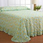Queen decor size Cotton Blend Bedspread with Yellow Rose on Sky Blue Background
