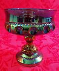 Kings Crown Blue Carnival Glass Thumbprint Large Pedestal Footed Wedding Bowl 5