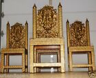 13231 Antique GOTHIC Lions Head Tin overlay wood MASONIC CHAIRS Freemasons Lodge
