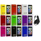 Color Hard Snap On Rubberized Case Cover+Charger for HTC Sprint EVO 4G
