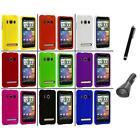 Color Hard Snap On Rubberized Case Cover+Charger+Pen for HTC Sprint EVO 4G