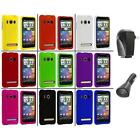 Color Hard Snap On Rubberized Case Cover+2X Chargers for HTC Sprint EVO 4G