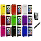 Color Hard Snap On Rubberized Case Cover+LCD Film+Stylus for HTC Sprint EVO 4G