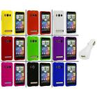 Color Hard Snap On Rubberized Case Cover+White Charger for HTC Sprint EVO 4G