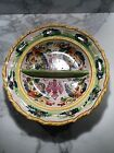 Vintage Italian faience majolica shallow divided bowl, by Fratelli Fanciullacci