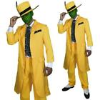 90s Fancy Dress Mens Yellow Gangster Suit The Mask Jim Carrey Costume