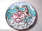 LIVELY ABSTRACT COLORFUL PLATE DISH ITALY ITALIAN HORSE BULL PLAINS VINTAGE BLUE