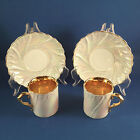 Antique Pair Cups Saucers, Ivory Gold, Luster, Germany, Shell Design Art Nouveau