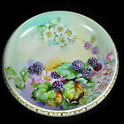 Antique Rosenthal Hand Painted Blackberries Artist Initialed Bowl Gilt Moriage