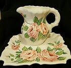 Vintage Ceramic Bedside Water Pitcher and Matching Tray Made in Italy BEAUTIFUL