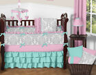 BOUTIQUE BLUE PINK GREY WHITE GIRLY CUTE CRIB BABY BEDDING RUFFLE COMFORTER SET