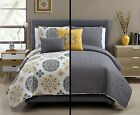 5 Pc Yellow, Grey and White, Quilt Set, Full/queen Size Bedding,