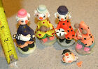 set of 4 Beautiful hand made Clowns hobos decorative ceramic figurines precious