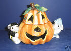 Fitz and Floyd Halloween Bunny Blooms Candy Jar - New in Box- 2063/706